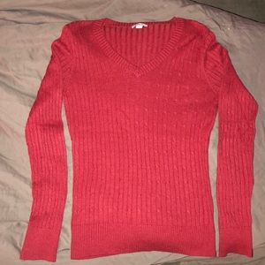 Merona v-neck sweater in red, size small